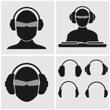 Set of Music Icons with Headphones. Set of icons with heads, include DJ mixer and four different headphones Royalty Free Stock Photography
