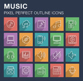 Set of music icons with long shadow. Royalty Free Stock Images