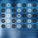Set of music icons. Music modern icons for mobile interface on blurred background Stock Photos