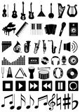 Set of 50 music icons. Musical instruments and accessories. Black and white Royalty Free Stock Image