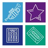 Set of music icons. Collection on colorful squares vector illustration graphic design Royalty Free Stock Photography