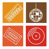 Set of music icons. Collection on colorful squares vector illustration graphic design Stock Photography