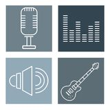 Set of music icons. Collection on colorful squares vector illustration graphic design Stock Photos