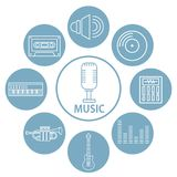 Set of music icons. Collection vector illustration graphic design Stock Photos