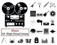 Set of 24 Music Icons. Monochrome color design. Vector illustration stock illustration