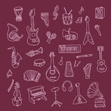 Set of Music Instruments Royalty Free Stock Images