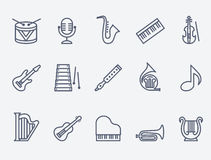 Set of 15 music instruments. Music instruments. Flat design. Thin lines royalty free illustration