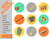 Set of music instruments. Flat style design Royalty Free Stock Photos