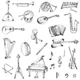 Set of Music Instruments Stock Images