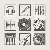 Set of music instruments icons for disco party Stock Photos