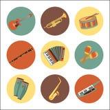 Set of music instruments icons. Flat style design. Stock Photo