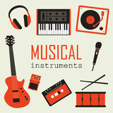 Set of Music Instruments Stock Photos