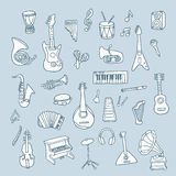 Set of Music Instruments Royalty Free Stock Photo
