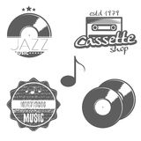 Set of music labels. With some music elements: gramophone disk (record), sound key, sound waves, cassette, note. Vector illustration Stock Image