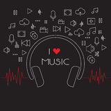 Set of music line icons Stock Images