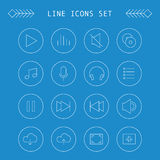 Set of music line icons Stock Image