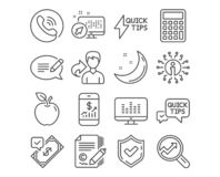 Web. Set of Music making, Copywriting and Quickstart guide icons. Accepted payment, Mobile finance and Message signs. Analytics, Quick tips and Calculator stock illustration