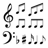 Set of music notes . Black and white silhouettes Royalty Free Stock Photography