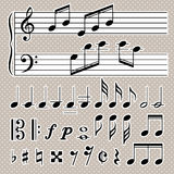 Set of music notes . Black and white silhouettes Royalty Free Stock Images