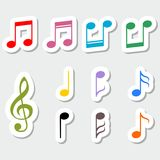 Set of music notes, color sticker design Royalty Free Stock Photography
