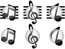 Set of Music Notes Glass Button Royalty Free Stock Image