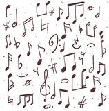 Set of music notes. Hand drawn illustration of music notes and other signs Stock Photography