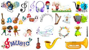 Set of music objects. Illustration stock illustration