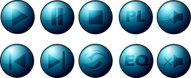 Set of music player buttons. Illustrated set of music audio player buttons, white background vector illustration