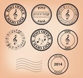Set - vector music post stamps Stock Photography