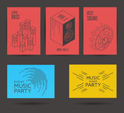 Set of music posters. Set of music vector posters. Music party design elements Royalty Free Stock Photography