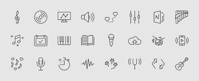 Set of Music Related Vector Line Icons. Contains such Icons as Pan Flute, Piano, Guitar, Treble Clef, In-ear and more. Editable Stroke. 32x32 Pixel Perfect stock illustration