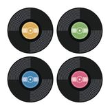 Set of music retro vinyl record flat icons. vector  Royalty Free Stock Images