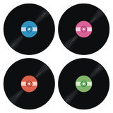 Set of music retro vinyl record icons, vector  Royalty Free Stock Photos