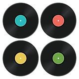 Set of music retro vinyl record icons. vector royalty free illustration