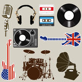 Set of Music and Sound Objects Stock Photography