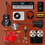 Set of music and sound objects. Flat design Royalty Free Stock Photos