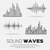 Set of 4 music sound waves. Royalty Free Stock Image