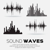 Set of 4 music sound waves. Stock Photos