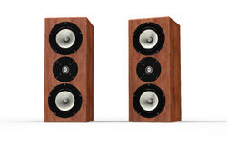 Set of music speakers made of wood isolated Stock Images