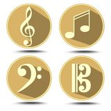 A set of music symbol in circle with long shadow. Treble clef, bass clef, music note Stock Images