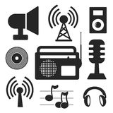 Set of music and wireless web and mobile logo icons Royalty Free Stock Photography