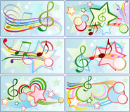 Set of musical backgrounds. For graphic design Stock Image