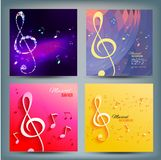Set of musical banners with key and notes Royalty Free Stock Photo