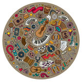 Set of Musical cartoon doodle objects Stock Image
