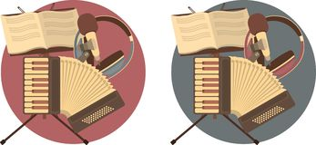Set of musical emblems flat Stock Photography