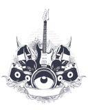 Set of musical grunge elements Stock Photo