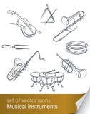Set musical instrument. Illustration isolated on white background Royalty Free Stock Photo