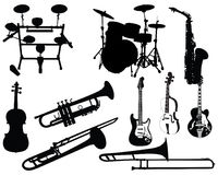 Set of musical instruments royalty free illustration