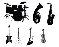 Set of musical instruments. Set of different stringed, wind and percussion instruments Royalty Free Stock Images