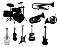 Set of musical instruments. Set of different stringed, wind and percussion instruments Stock Image